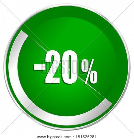 20 percent sale retail silver metallic border green web icon for mobile apps and internet.
