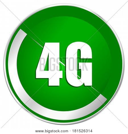 4g silver metallic border green web icon for mobile apps and internet.