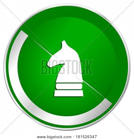 Chess horse silver metallic border green web icon for mobile apps and internet.