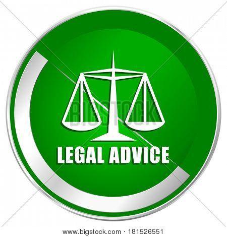 Legal advice silver metallic border green web icon for mobile apps and internet.