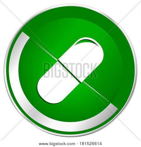 Drugs silver metallic border green web icon for mobile apps and internet.