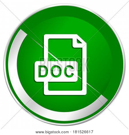 Doc file silver metallic border green web icon for mobile apps and internet.