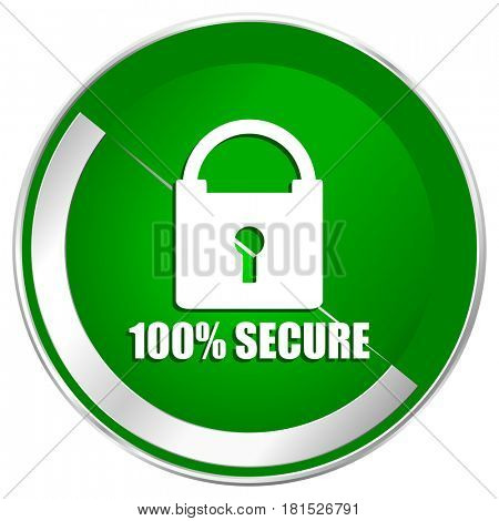 Secure silver metallic border green web icon for mobile apps and internet.