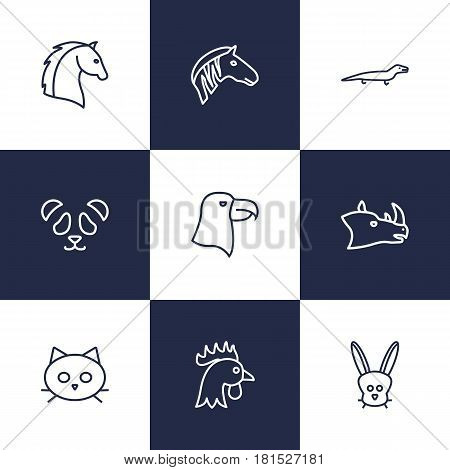 Set Of 9 Alive Outline Icons Set.Collection Of Eagle, Horse, Lizard And Other Elements.