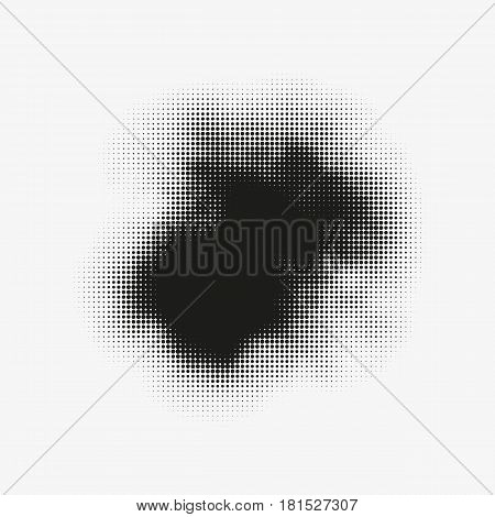 Abstract vector halftone stain. Black blot made of round particles. Modern illustration with dark murky spot. Splattered array of dots. Gradation of tone. Element of design.