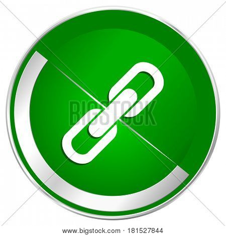 Link silver metallic border green web icon for mobile apps and internet.