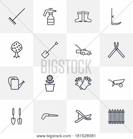 Set Of 16 Farm Outline Icons Set.Collection Of Arm-Cutter, Harrow, Secateurs And Other Elements.