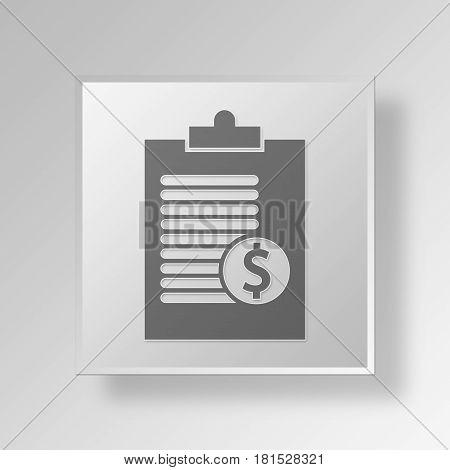 3D Symbol Gray Square clipboard icon Business Concept