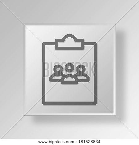 3D Symbol Gray Square clipboard teleconference icon Business Concept