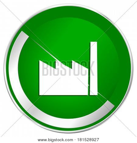 Factory silver metallic border green web icon for mobile apps and internet.