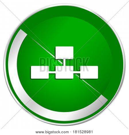 Database silver metallic border green web icon for mobile apps and internet.
