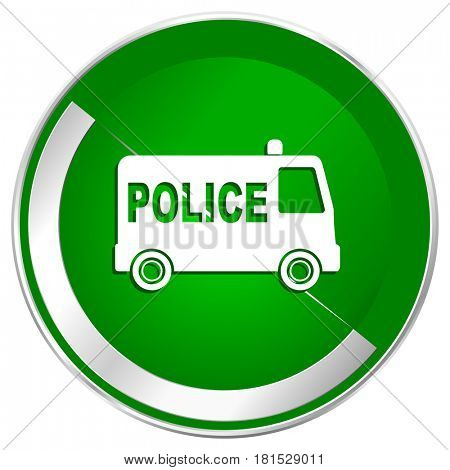 Police silver metallic border green web icon for mobile apps and internet.