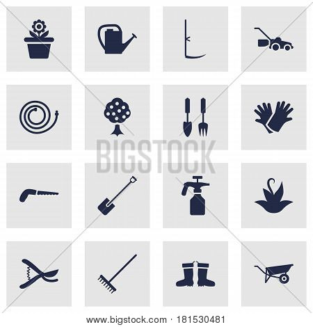 Set Of 16 Horticulture Icons Set.Collection Of Cutter, Latex, Watering Can And Other Elements.