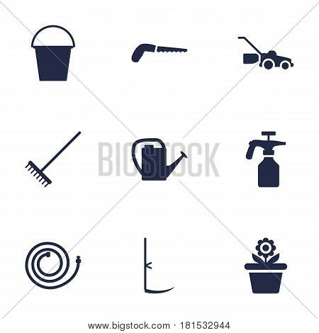 Set Of 9 Farm Icons Set.Collection Of Rake, Spray Bootle, Watering Can And Other Elements.