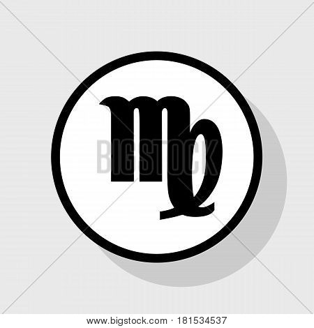 Virgo sign illustration. Vector. Flat black icon in white circle with shadow at gray background.