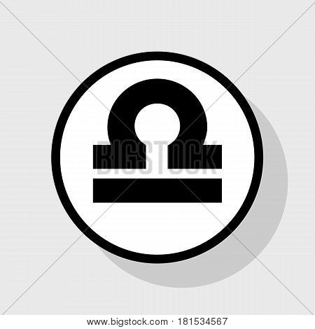 Libra sign illustration. Vector. Flat black icon in white circle with shadow at gray background.
