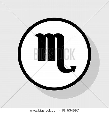 Scorpio sign illustration. Vector. Flat black icon in white circle with shadow at gray background.