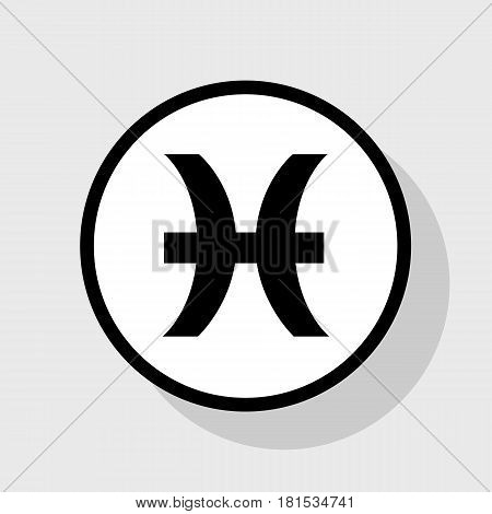 Pisces sign illustration. Vector. Flat black icon in white circle with shadow at gray background.
