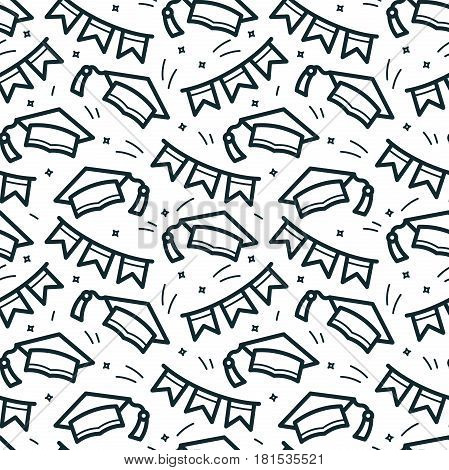 Graduation caps thrown in air black and white seamless pattern, vector illustration