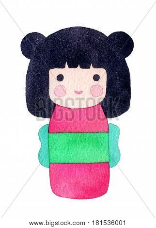 Kokeshi doll. Watercolor Japanese girl. Hand-drawn decorative element useful for invitations scrapbooking design. Real drawing