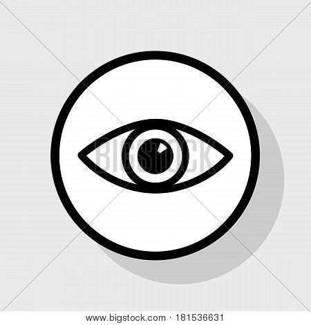 Eye sign illustration. Vector. Flat black icon in white circle with shadow at gray background.