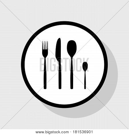 Fork spoon and knife sign. Vector. Flat black icon in white circle with shadow at gray background.