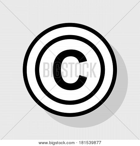 Copyright sign illustration. Vector. Flat black icon in white circle with shadow at gray background.