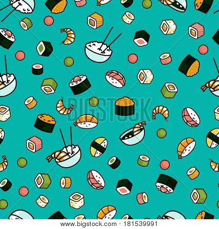 Seamless japenese food pattern, sushi and rolls, rice blue background