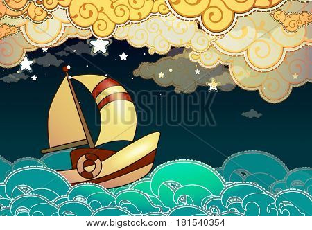 Cartoon stile ship sailing in the night