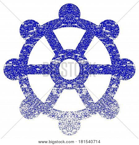 Cog textured icon for overlay watermark stamps. Blue vectorized texture. Flat vector symbol with dust design. Blue rubber seal stamp imitation.