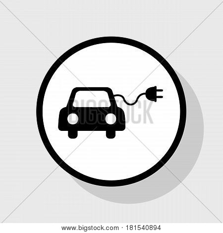 Eco electric car sign. Vector. Flat black icon in white circle with shadow at gray background.