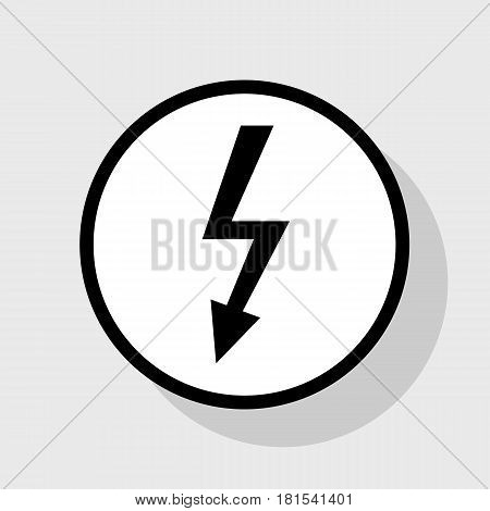 High voltage danger sign. Vector. Flat black icon in white circle with shadow at gray background.