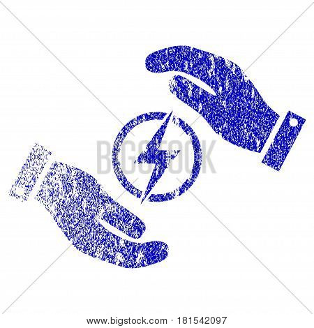 Electric Energy Insurance Hands textured icon for overlay watermark stamps. Blue vectorized texture. Flat vector symbol with unclean design. Blue rubber seal stamp imitation.