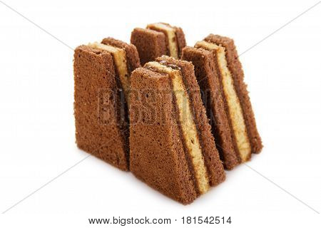 Brown Biscuit Cake With Jam Isolated On White Background
