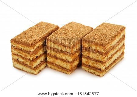 Honey Biscuit Cake With Condensed Milk Isolated On White