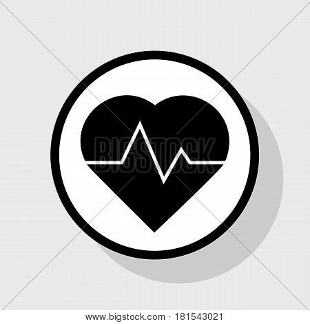 Heartbeat sign illustration. Vector. Flat black icon in white circle with shadow at gray background.