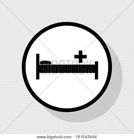 Hospital sign illustration. Vector. Flat black icon in white circle with shadow at gray background.
