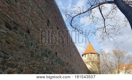 Fortress wall and tower in Sibiu, Romania