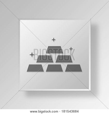 3D Symbol Gray Square gold bullion icon Business Concept