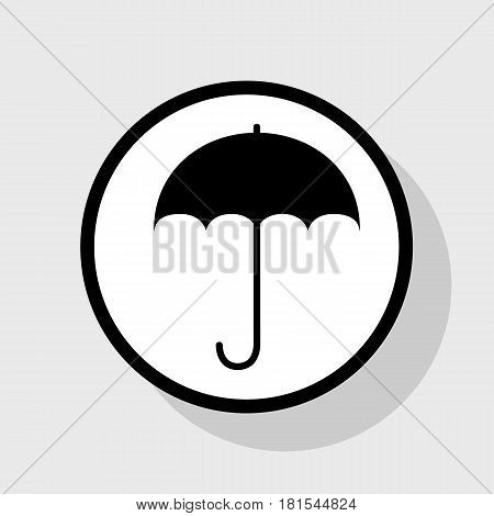 Umbrella sign icon. Rain protection symbol. Flat design style. Vector. Flat black icon in white circle with shadow at gray background.