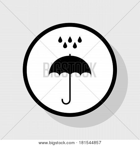 Umbrella with water drops. Rain protection symbol. Flat design style. Vector. Flat black icon in white circle with shadow at gray background.
