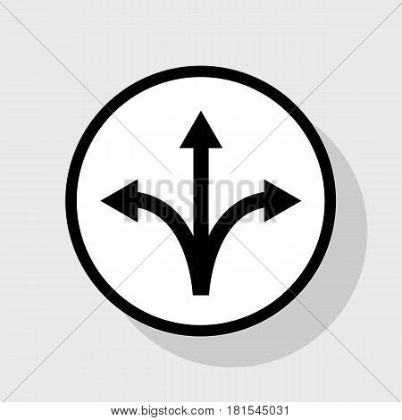 Three-way direction arrow sign. Vector. Flat black icon in white circle with shadow at gray background.