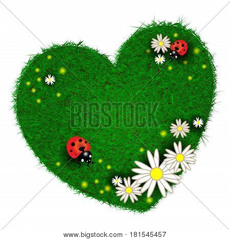 Heart made of grass with flowers and ladybugs