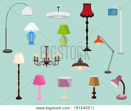 Colorful lamps set. Floor lamps, table lamps and chandeliers.Flat style vector illustration