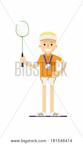Smiling tennis player with racket vector illustration isolated on white background. Sport competition concept, sportsman, athlete personage in flat design.