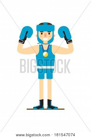 Young smiling boxer win gold medal vector illustration isolated on white background. Sport competition concept, sportsman, athlete personage in flat design.