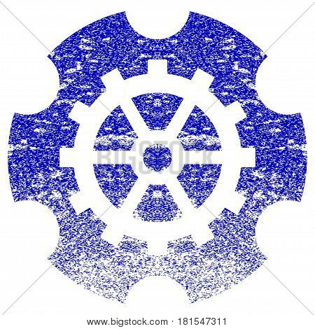 Gearwheel textured icon for overlay watermark stamps. Blue vectorized texture. Flat vector symbol with dust design. Blue rubber seal stamp imitation.