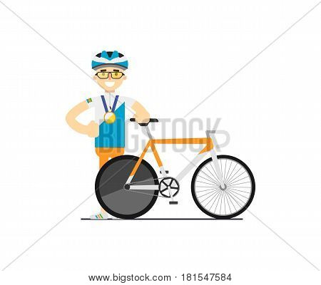 Smiling bicyclist with race road bike vector illustration isolated on white background. Sport competition concept, athlete personage in flat design.