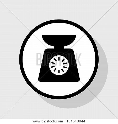Kitchen scales sign. Vector. Flat black icon in white circle with shadow at gray background.
