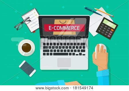 E-commerce store on laptop, person working on computer analyzing ecommerce vector illustration, flat developer working on office desktop top view, online shopping marketing research, internet shop